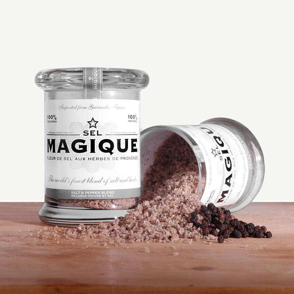 Sel Magique Herb Sea Salt, Fleur de Sel From France, Classic Blend, Large Jar Set