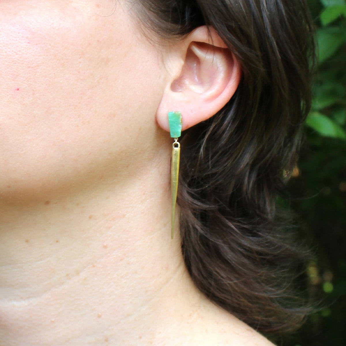 Chrysoprase / Brass Spike Drops / a collaboration between Hinge Design and K/LLER Collection