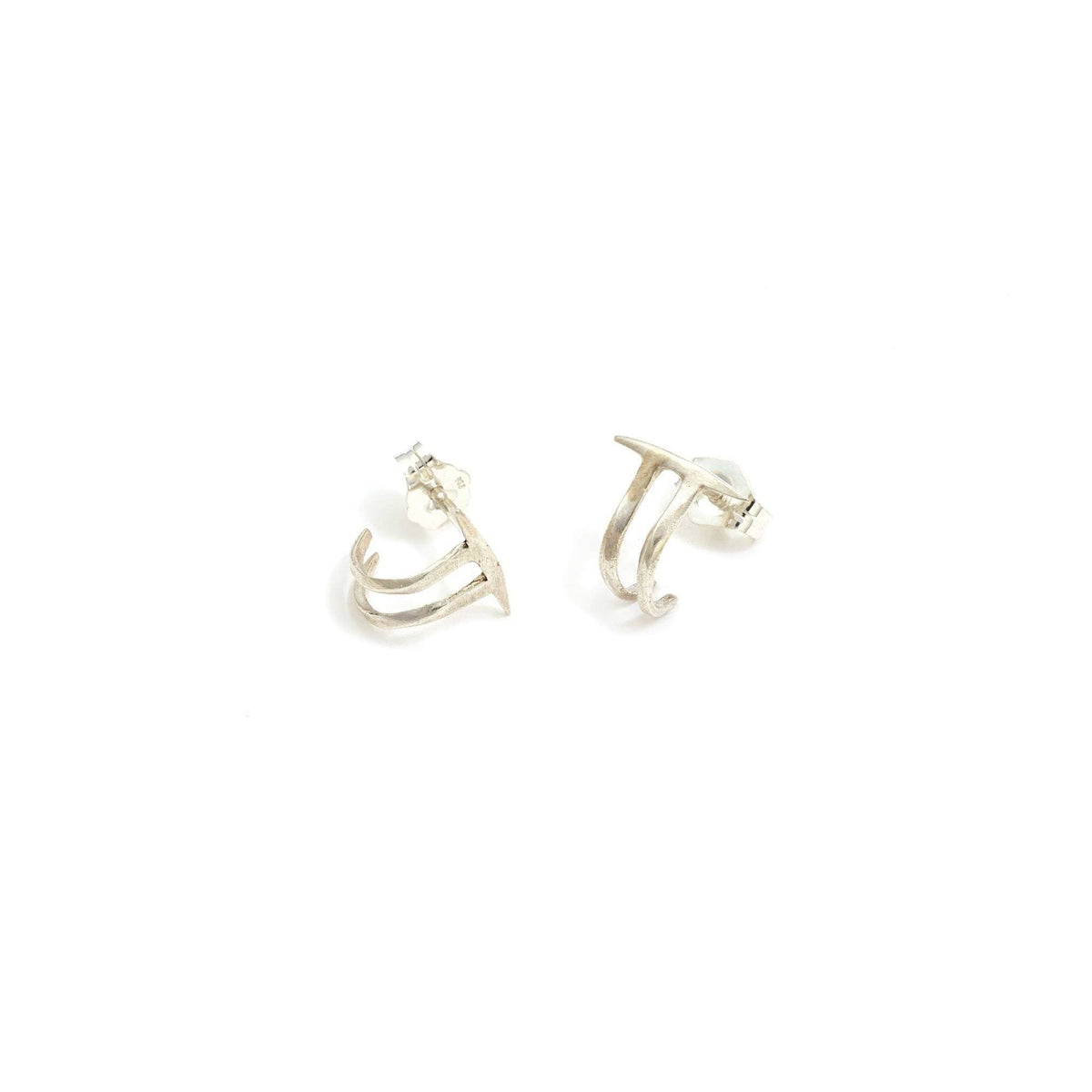Twist Spike Double Hoops Sterling