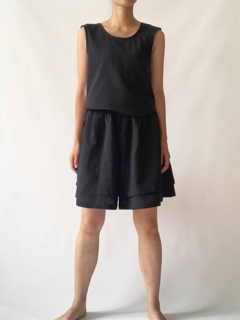 Tiered Culottes Black