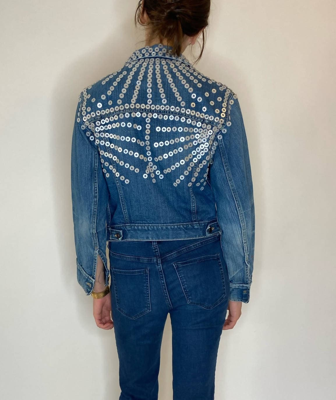 vintage denim trucker jacket with sunray pearl buttons