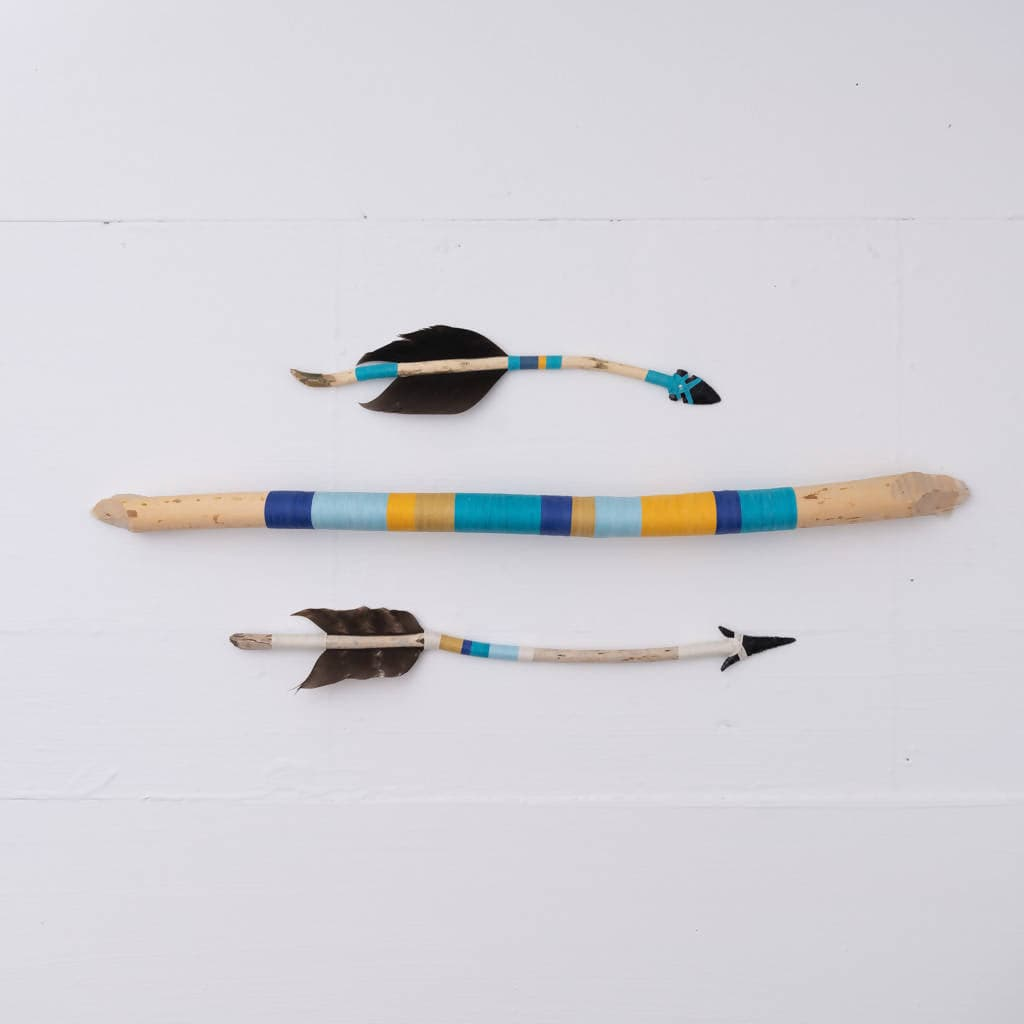 String-Wrapped Beaverstick Driftwood Wall Art (Royal Blue + Light Blue + Yellow + Vibrant Yellow+ Teal)