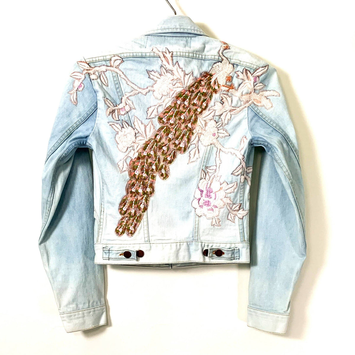 white peacock bleached denim trucker jacket