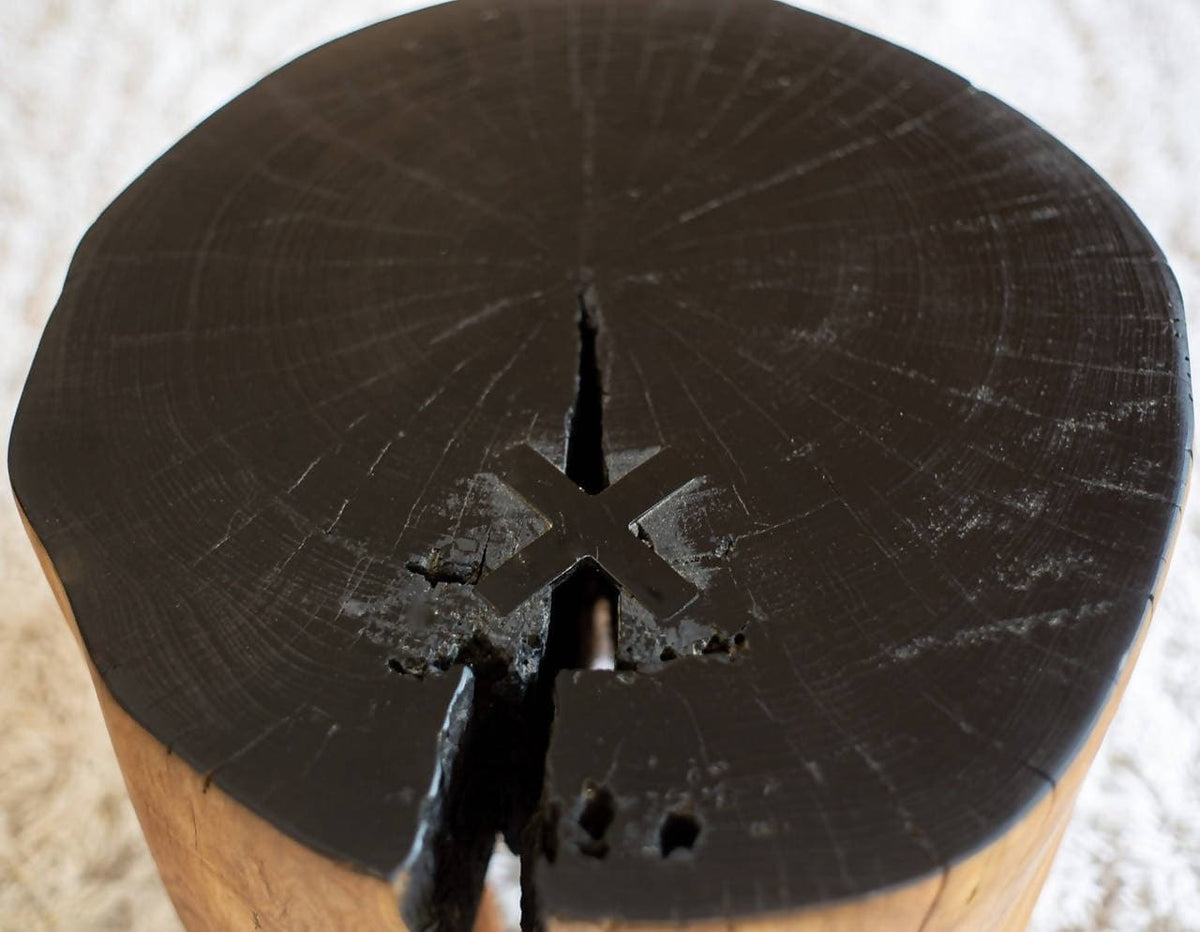 Cherry Blossom Stool With Ebonized Top