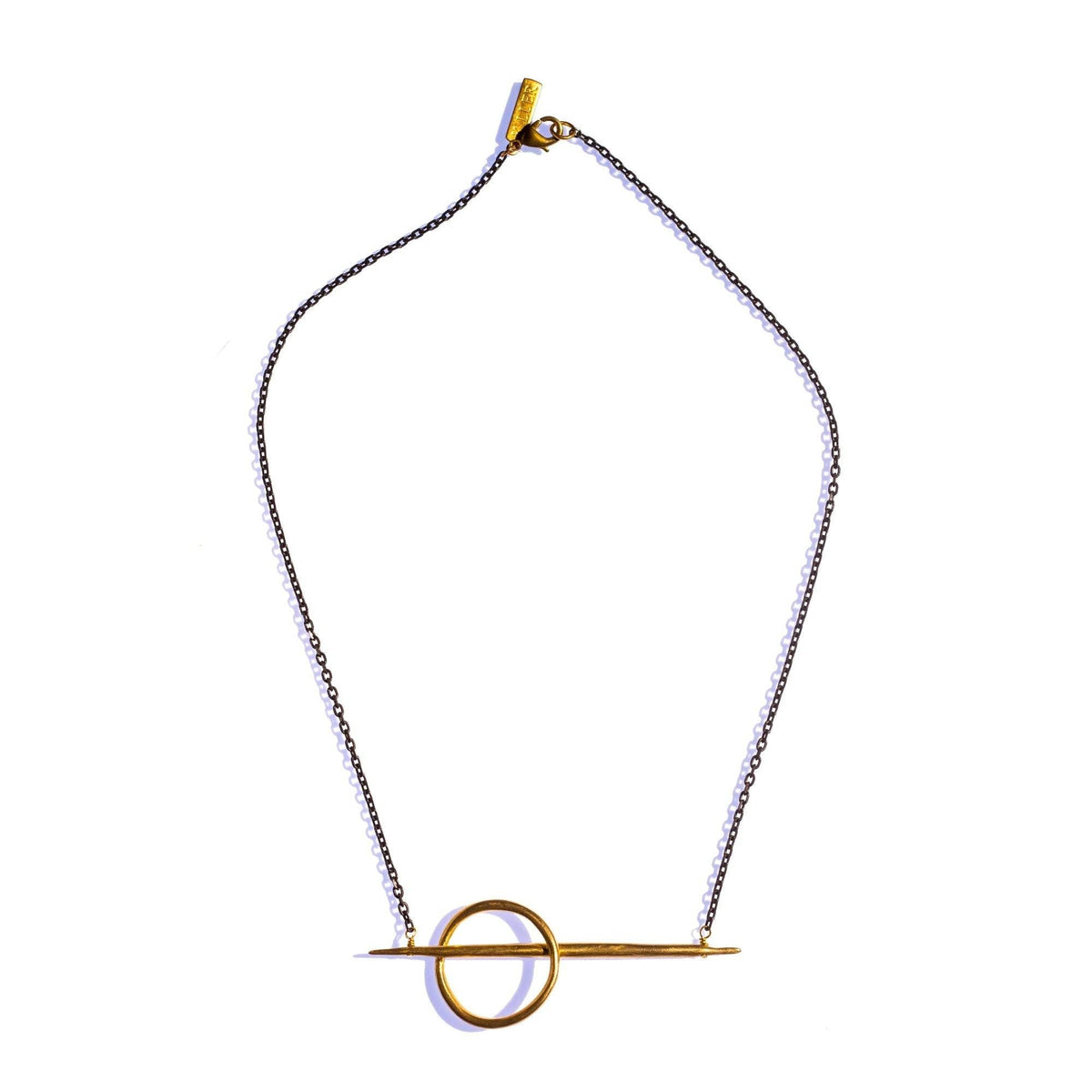 Small Lateral Quill Rising Necklace Brass