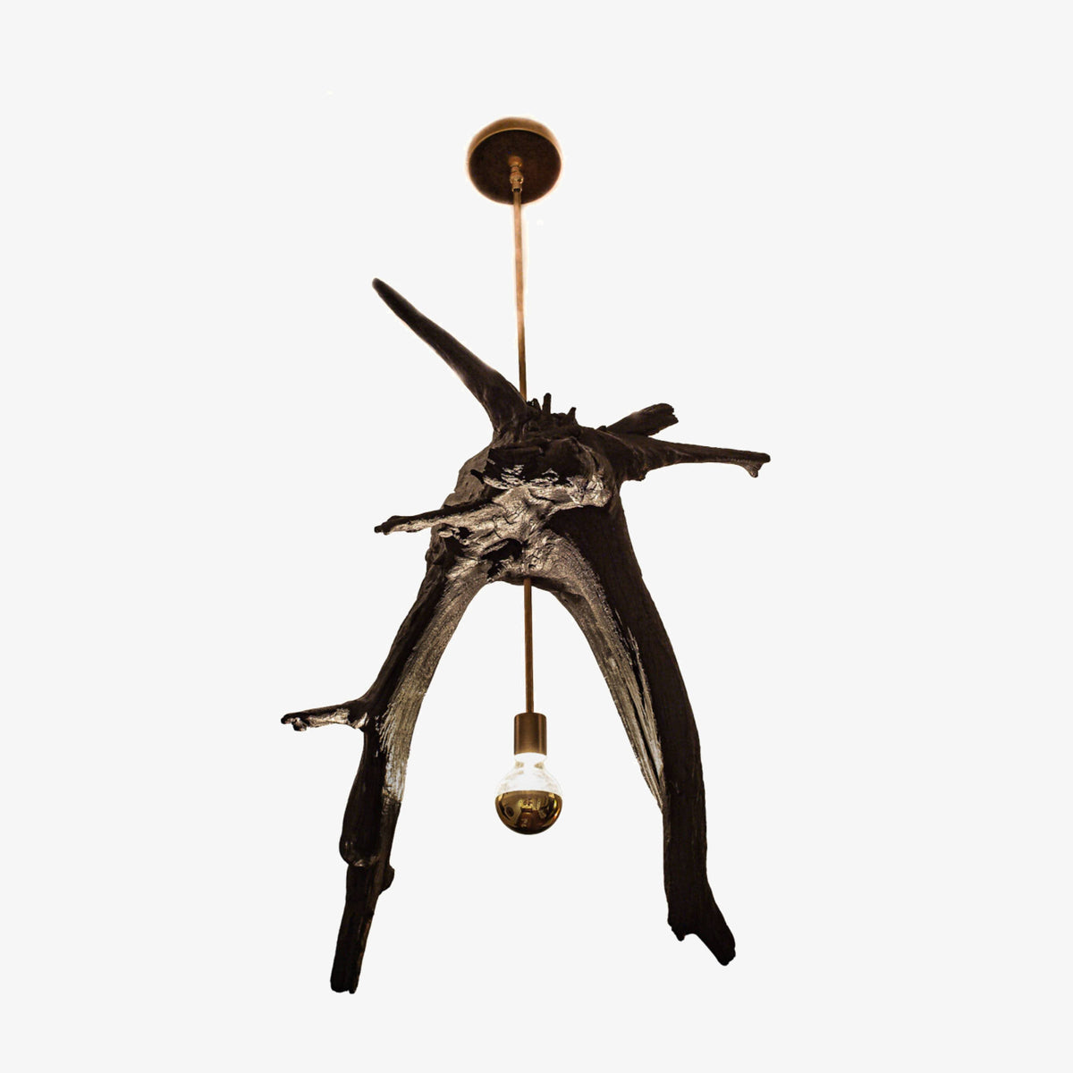 Charred Wood Chandelier With Brass Fixtures