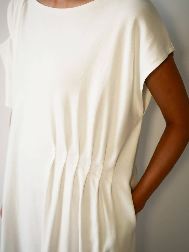 Pleated Asymetric T-shirt dress Off-White