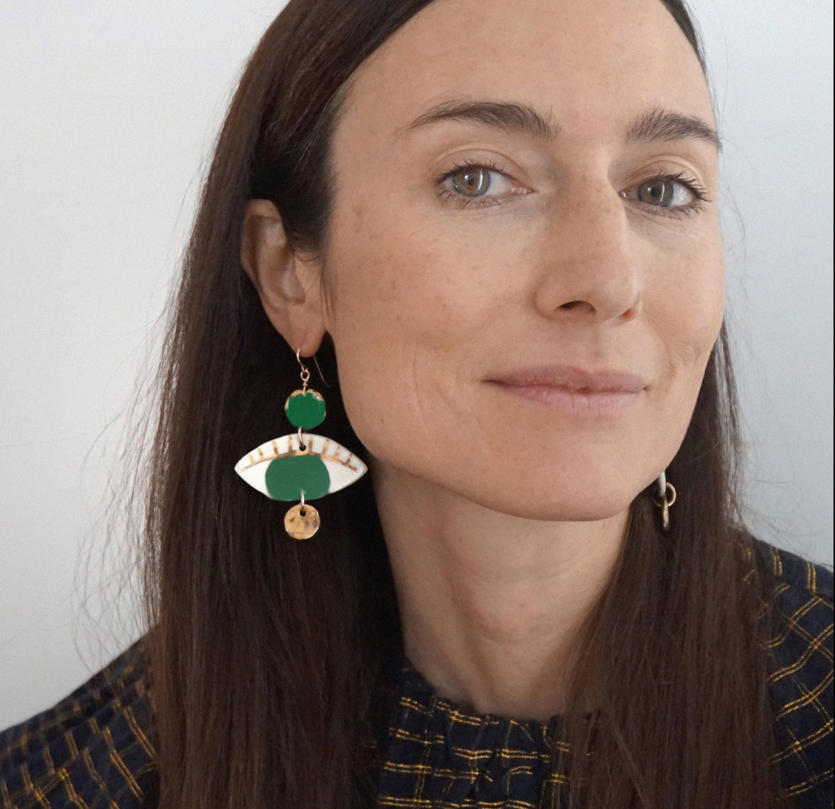 Green Dotted Occhi Earrings