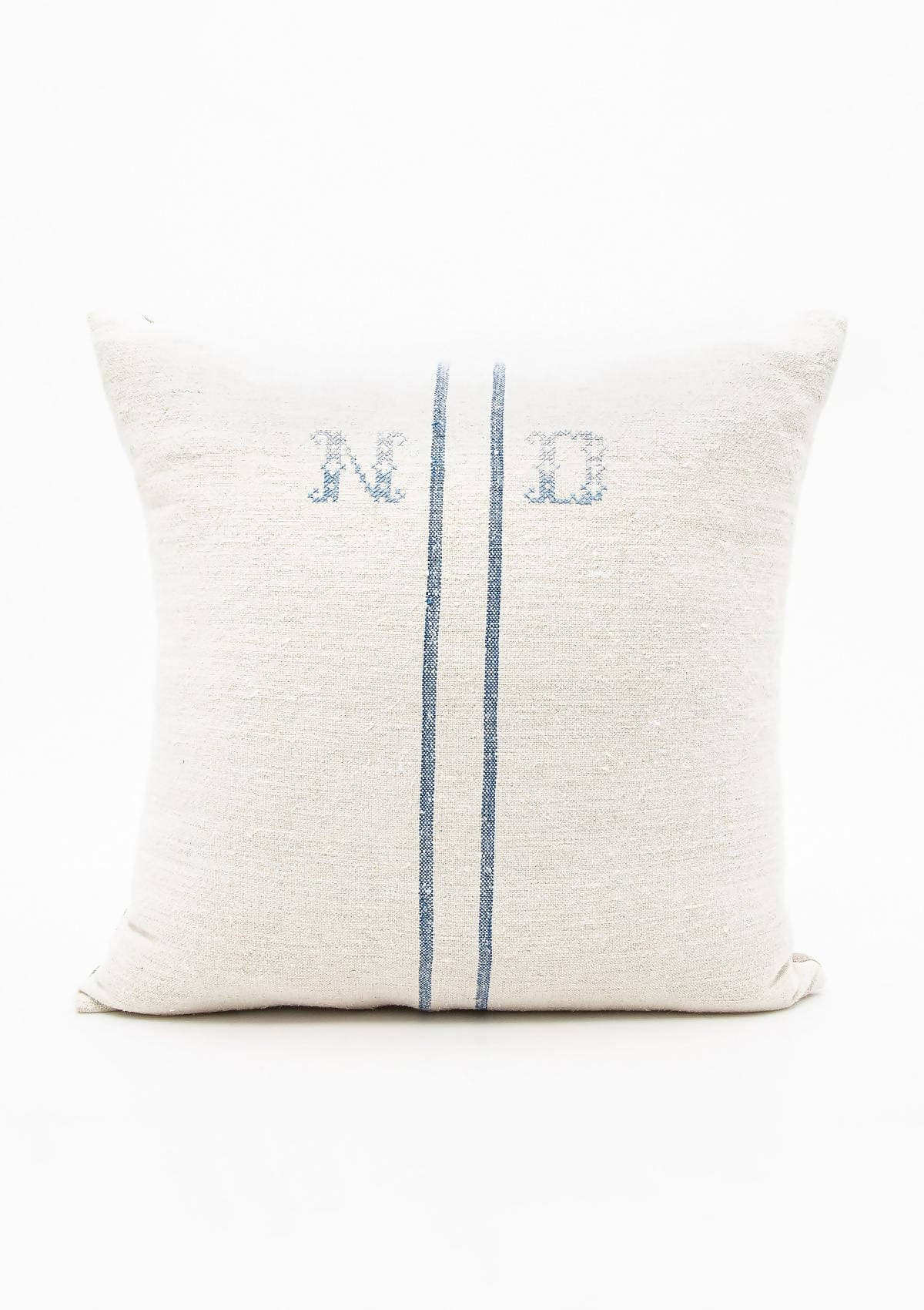 Blue Grain Sack Pillow