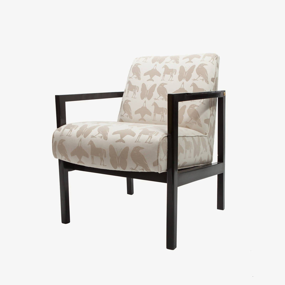 re: 264 floor model lounge chairs with black buff lacquered frame and brass accents-Price is for the pair.