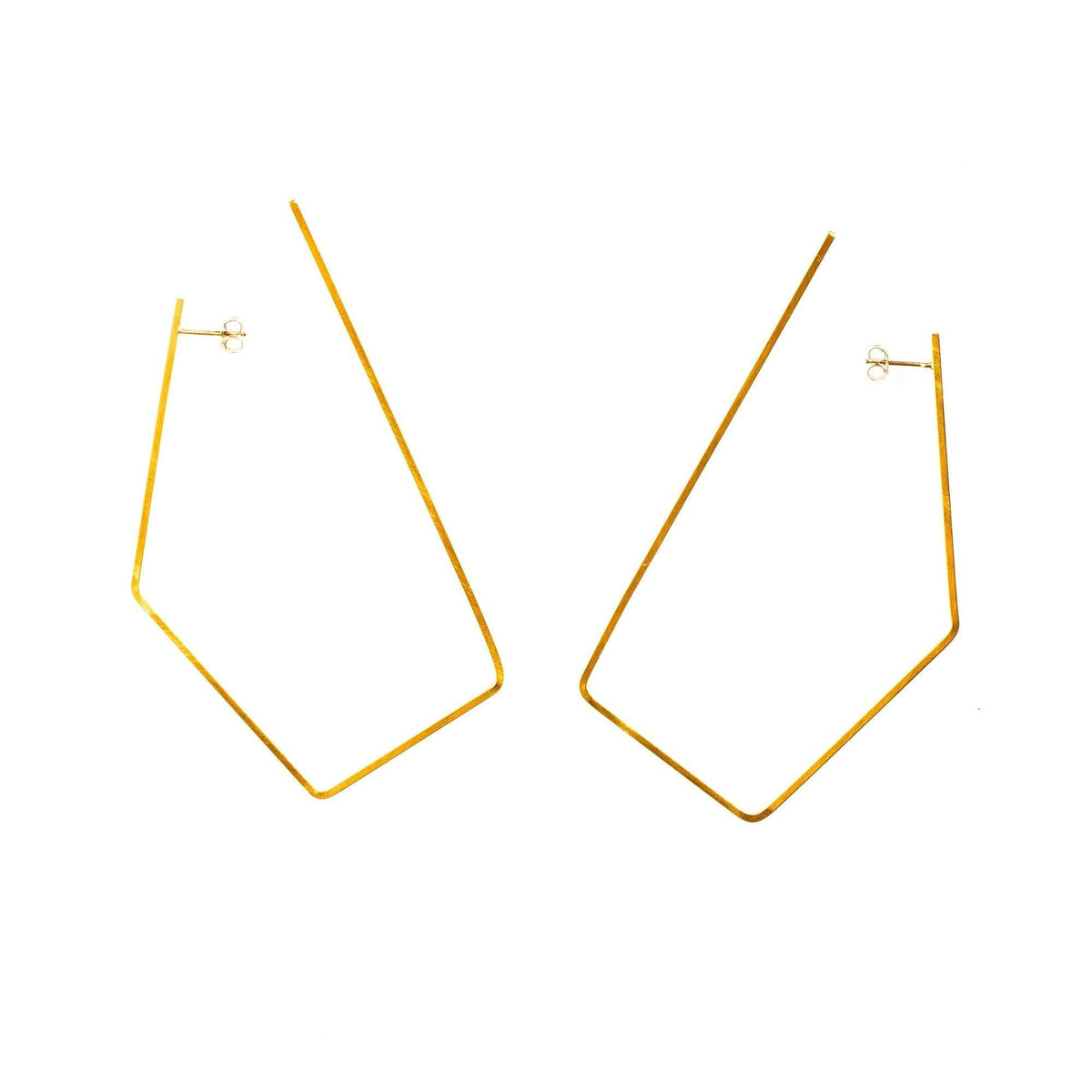 Large Oblong Hoops Brass