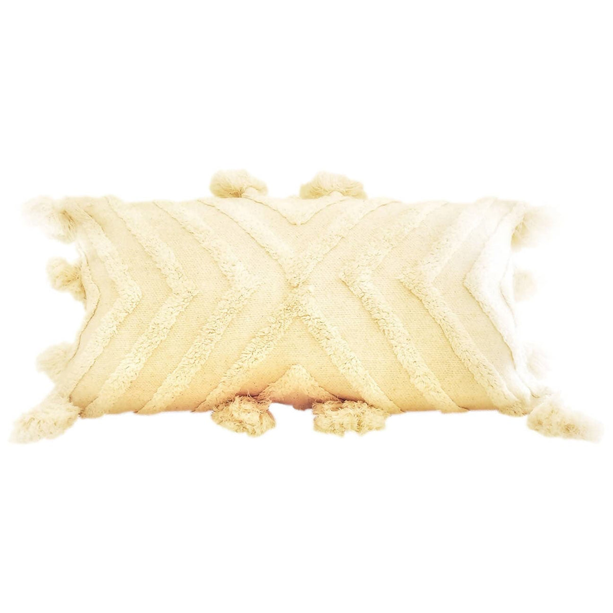 Stella Hand Loomed and Tufted Cotton Lumbar Pillow 12x24""