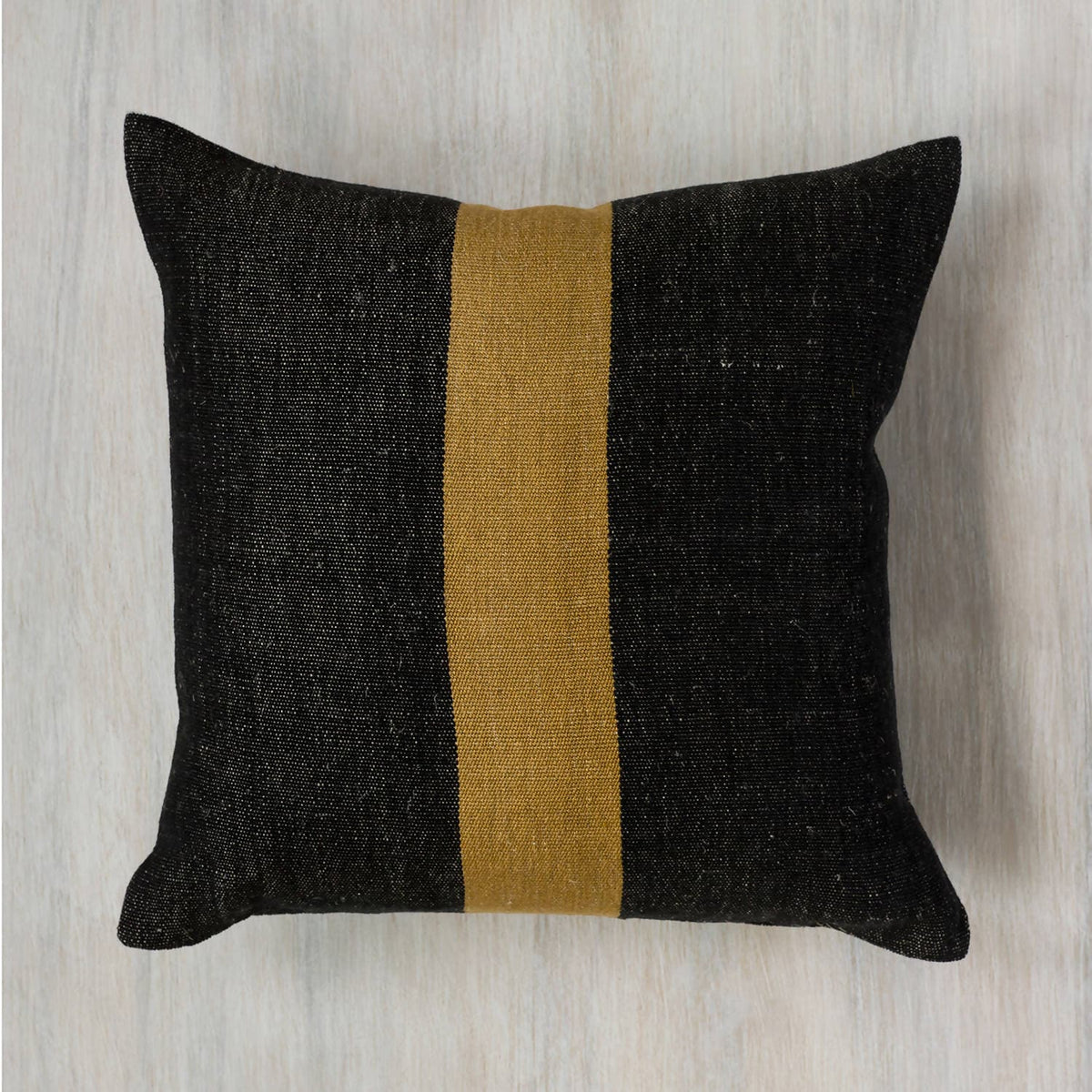 Black & Bronze Handwoven Linen Pillow