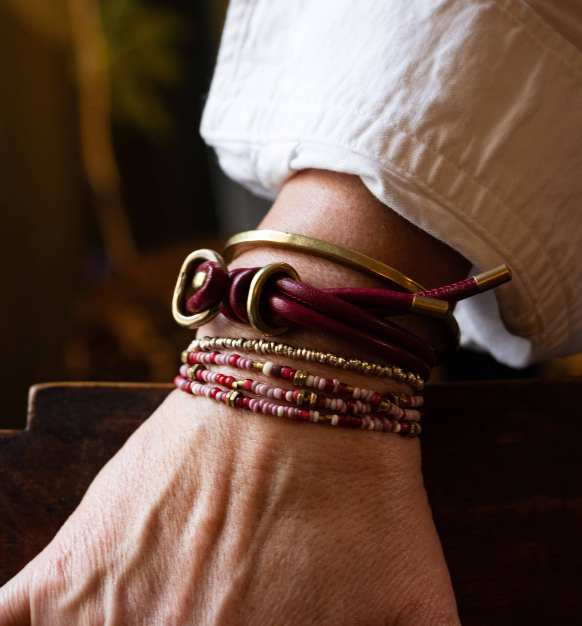 The Pink Beaded Wrap Stack with Wine Leather