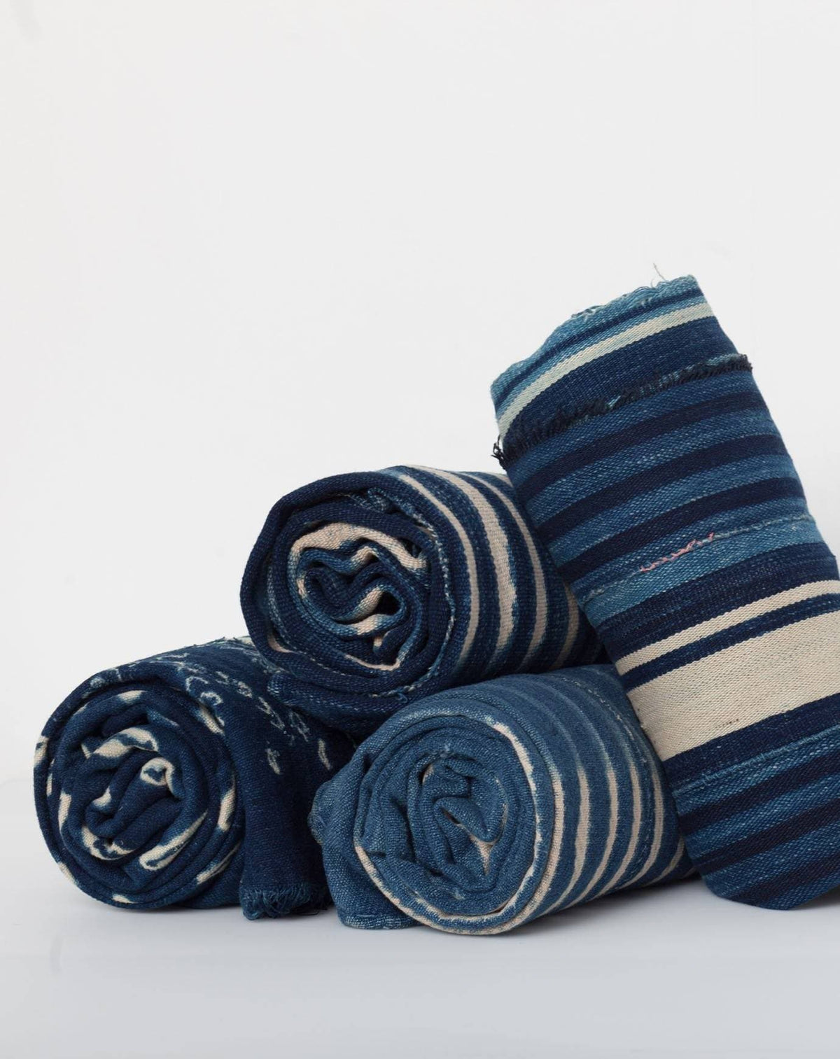 Striped Dyed Textile in Indigo