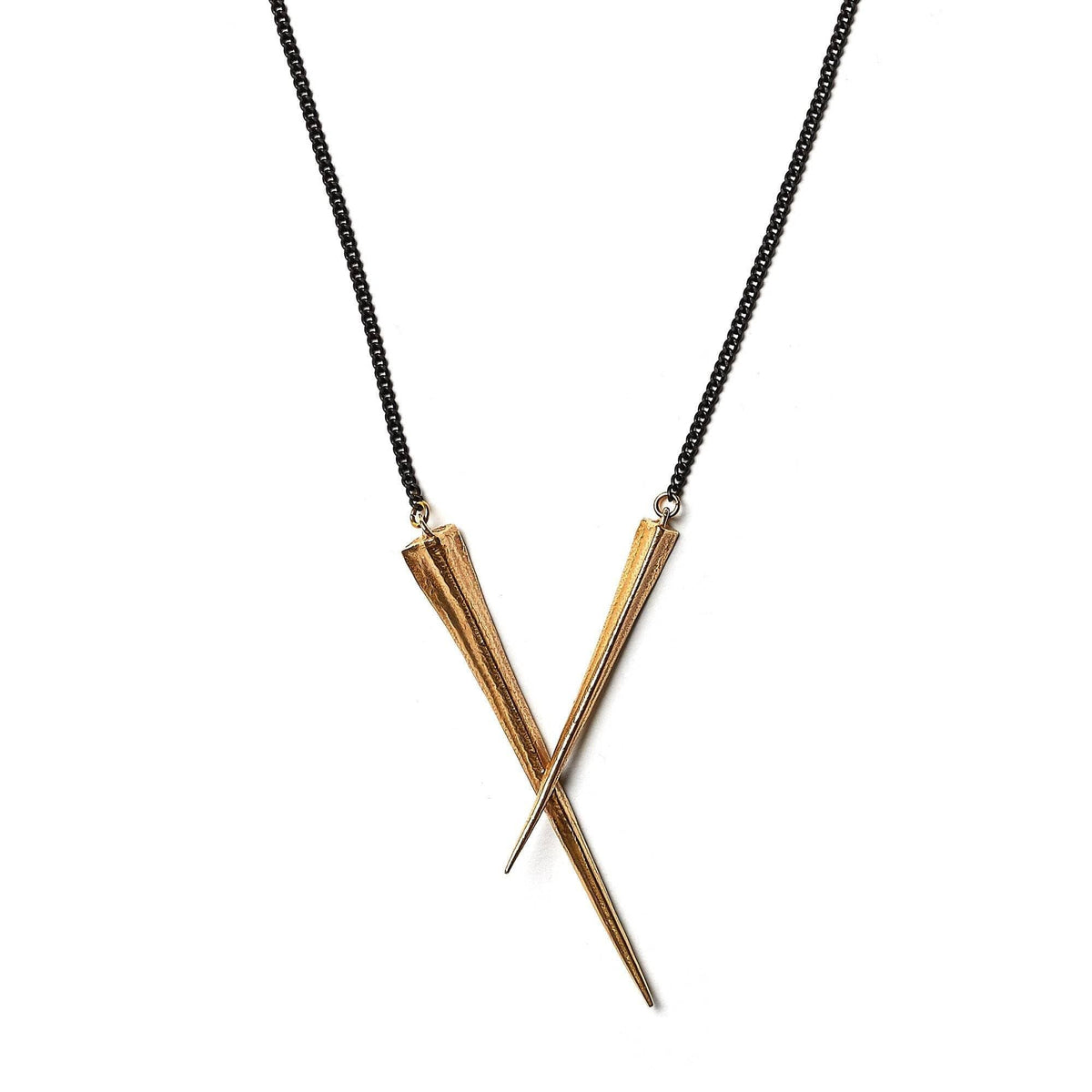 Crossed Telson Pendant Brass