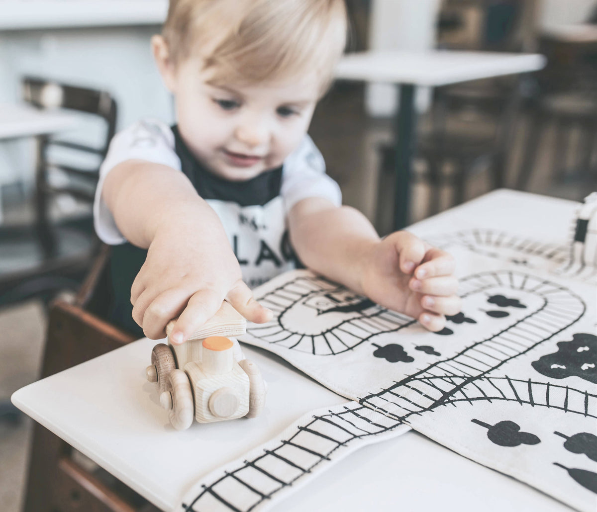 Train Play Mat with Wooden Train