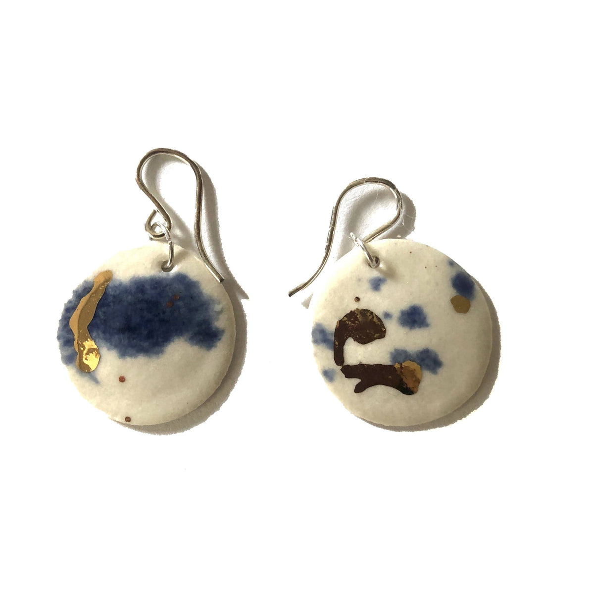 """Ink "" Gilt Porcelain Earrings"