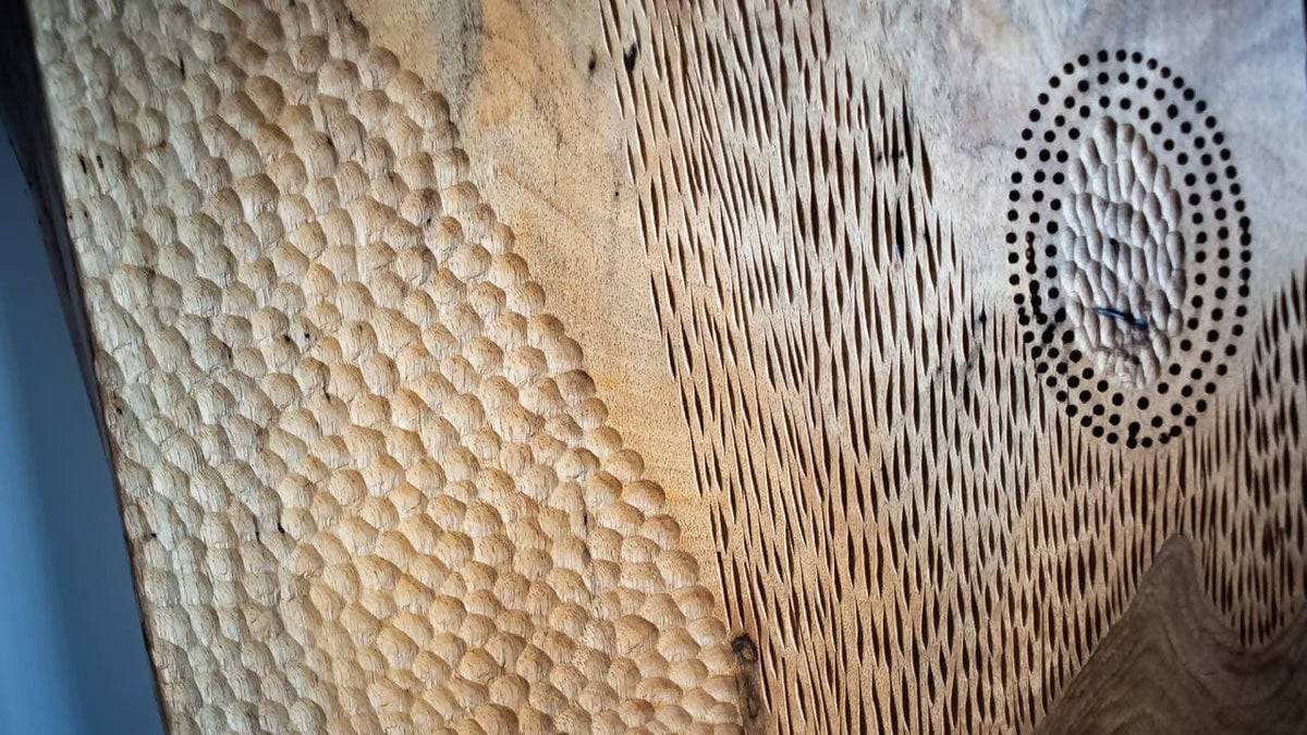 English Walnut Wall Art / Headboard With Hand Chattered Design