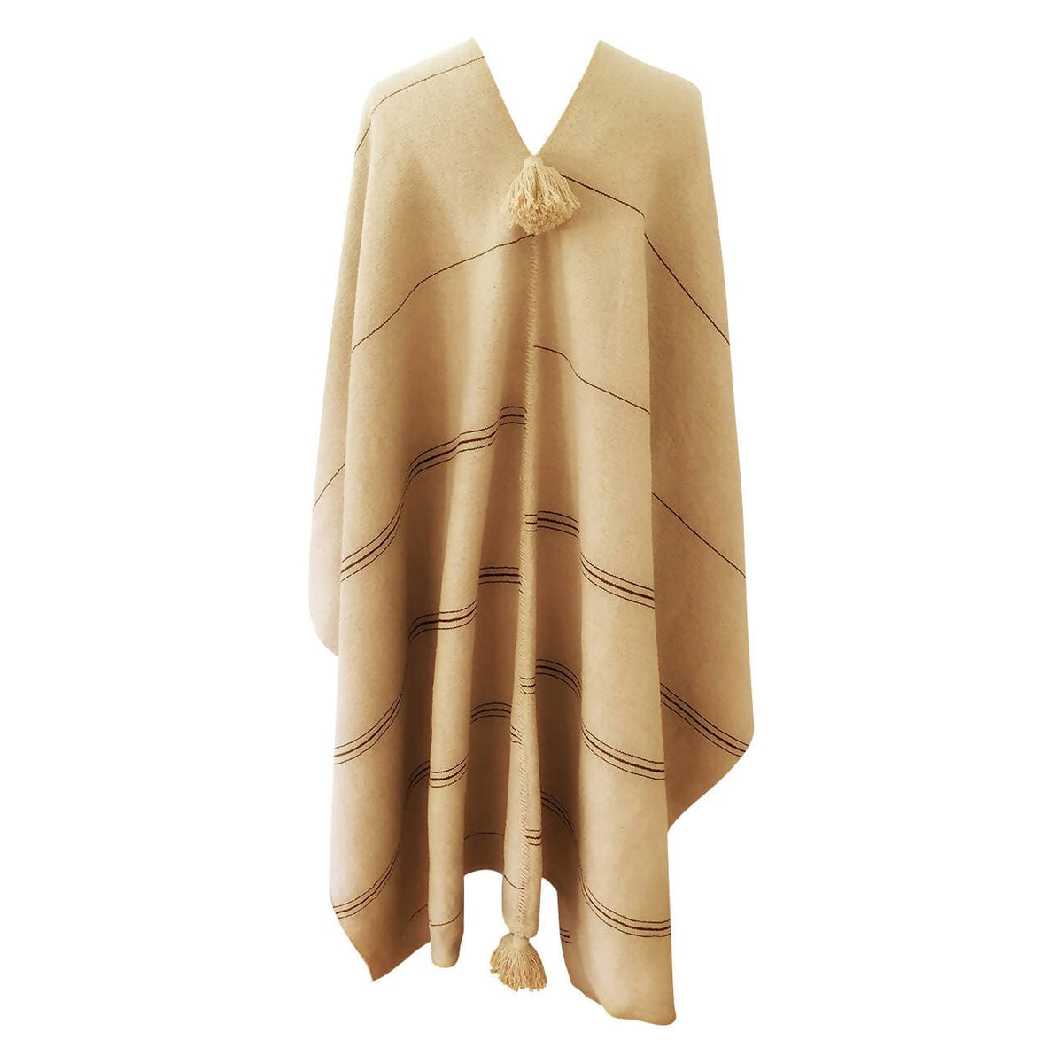 Hand Loomed Cotton Offset Stripe Cape