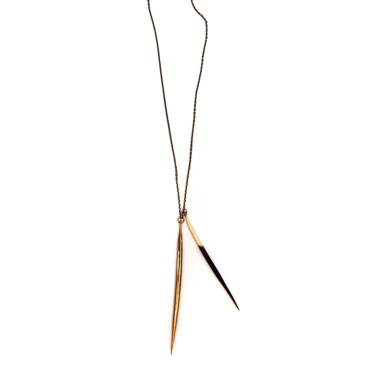 Porcupine Quill / Brass Quill Pendant