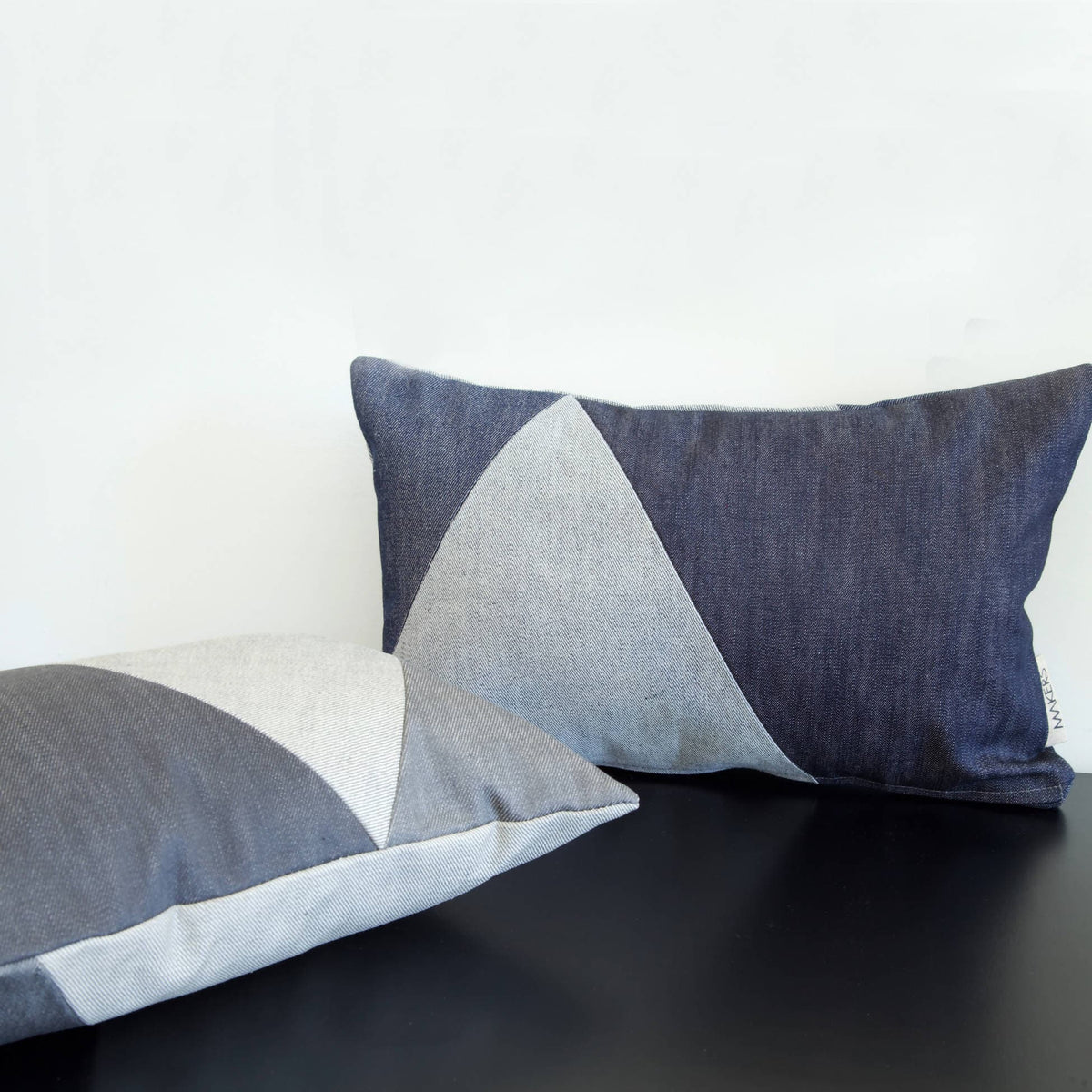 Pieced Grey Denim Teeny Cushion