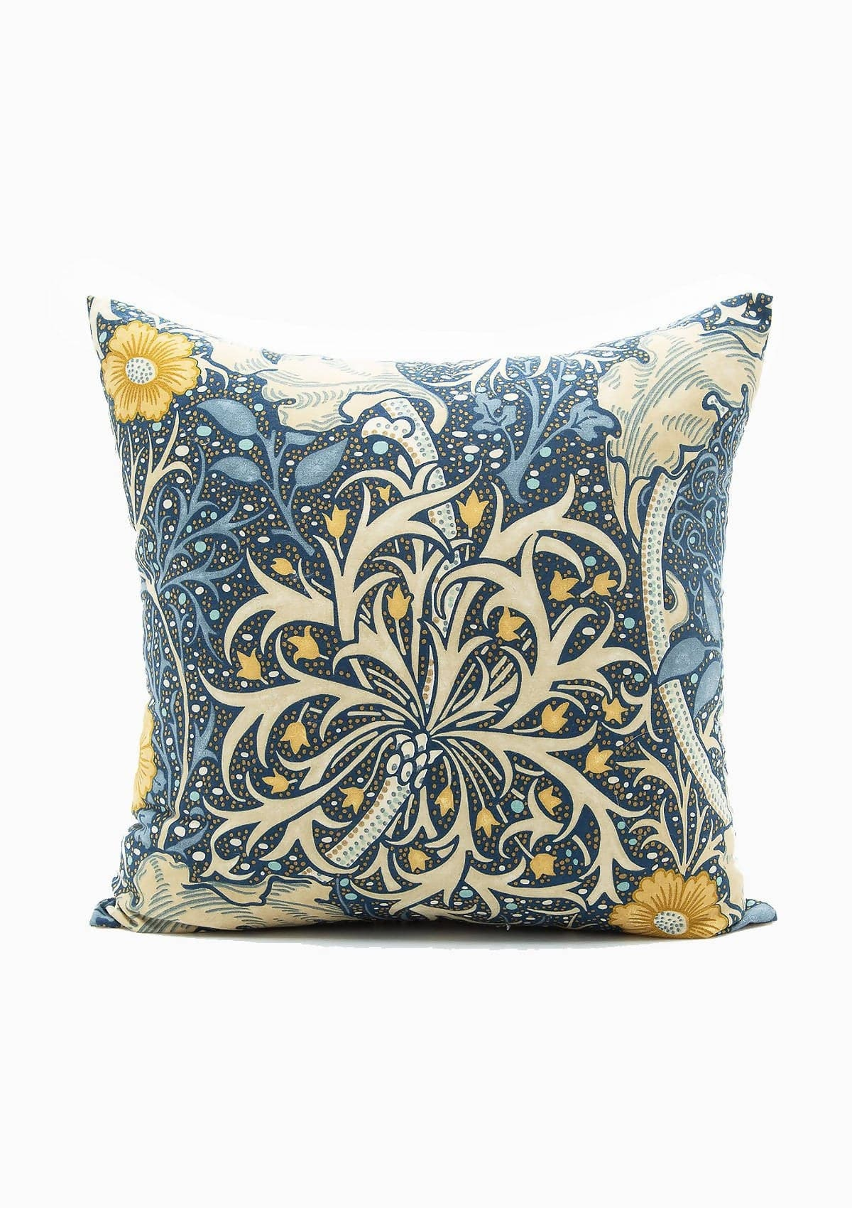 Dark Blue Floral Linen Pillow
