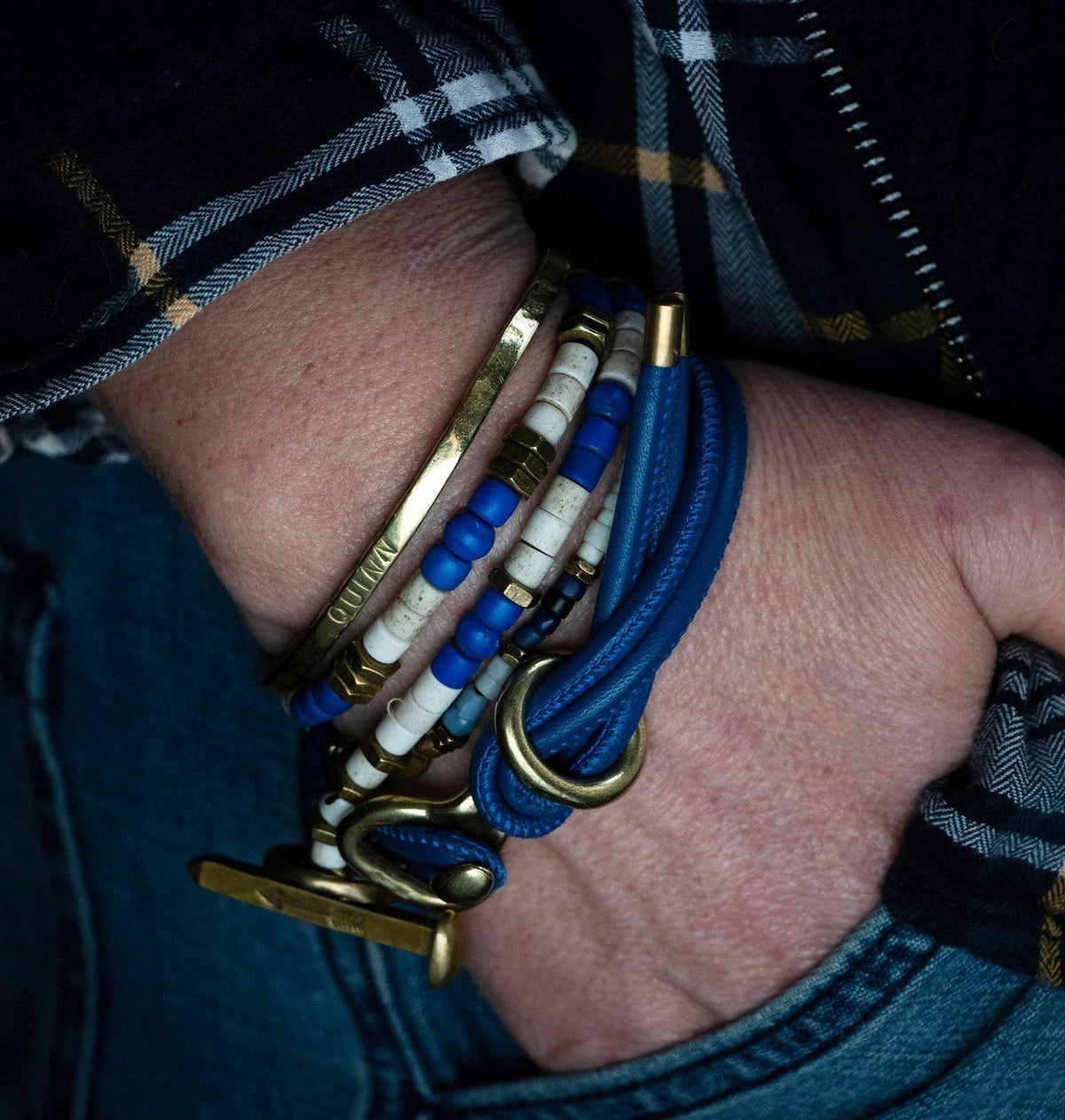 The Beaded Wrap Stack with Blue Leather