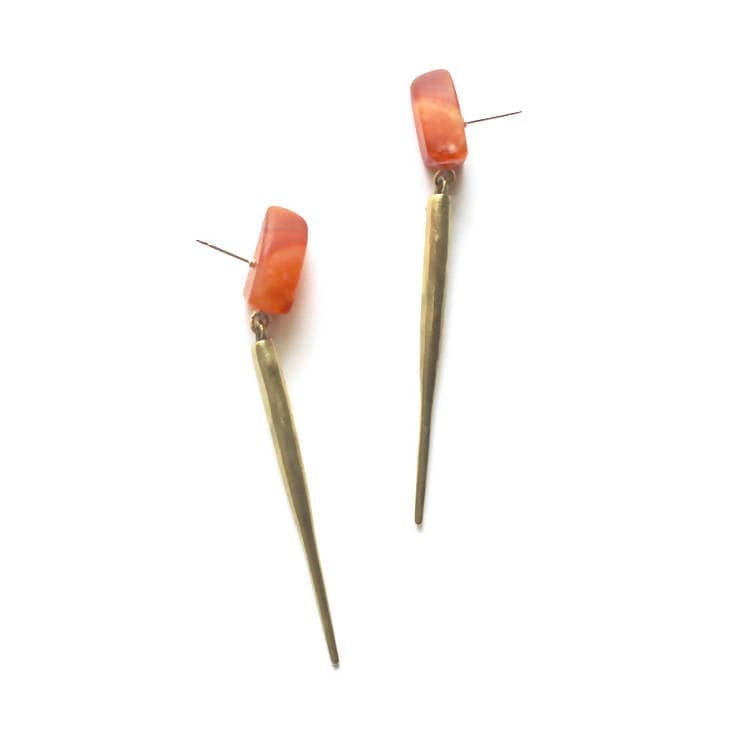 Carnelian / Brass Spike Drops a collaboration between Hinge Design and K/LLER Collection