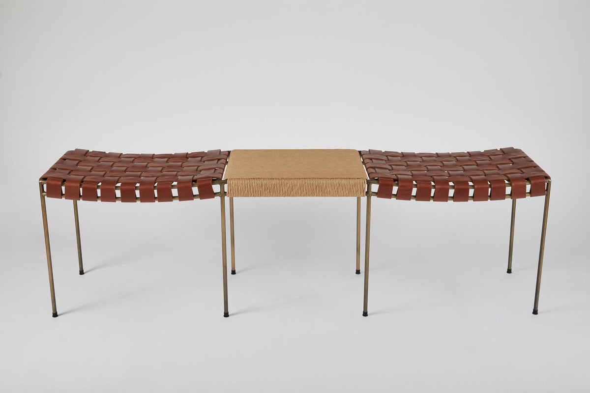 Double Rail Woven Leather Bench with Rush Table