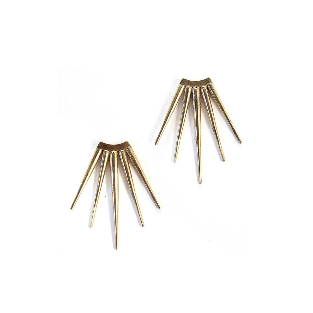 Large Quill Burst Earrings Brass