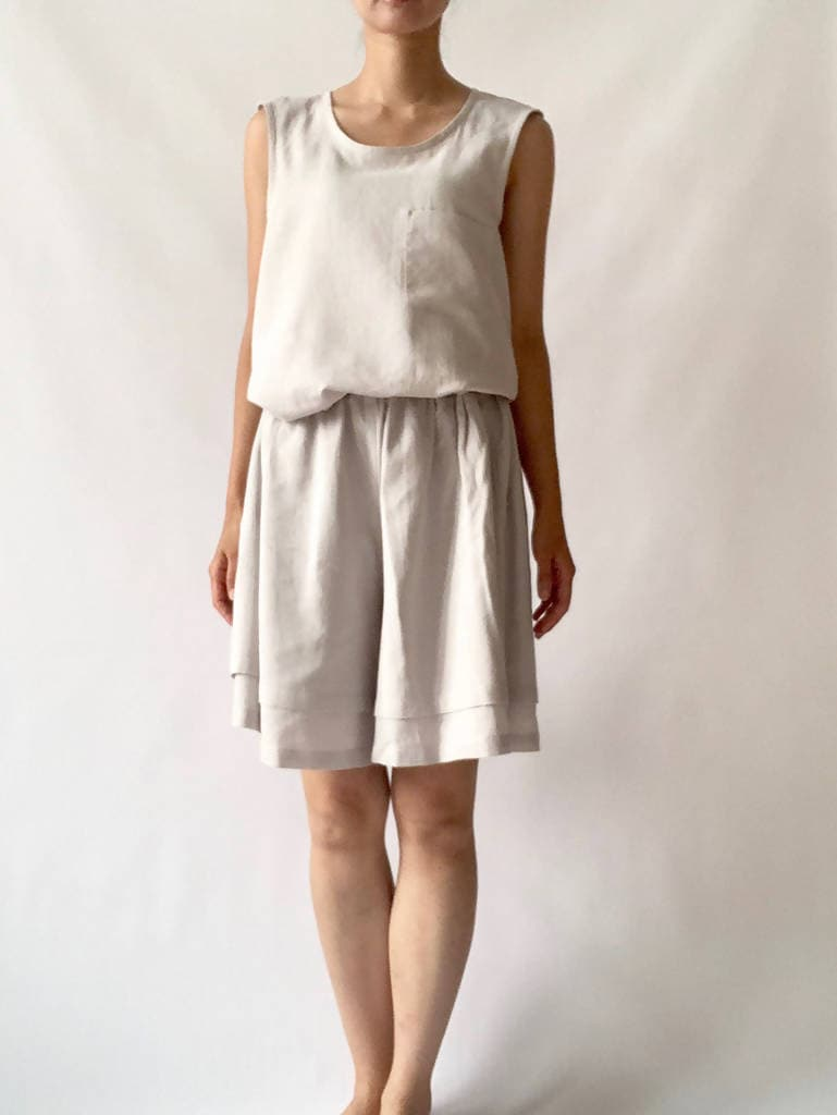 Tiered Culottes Light Grey