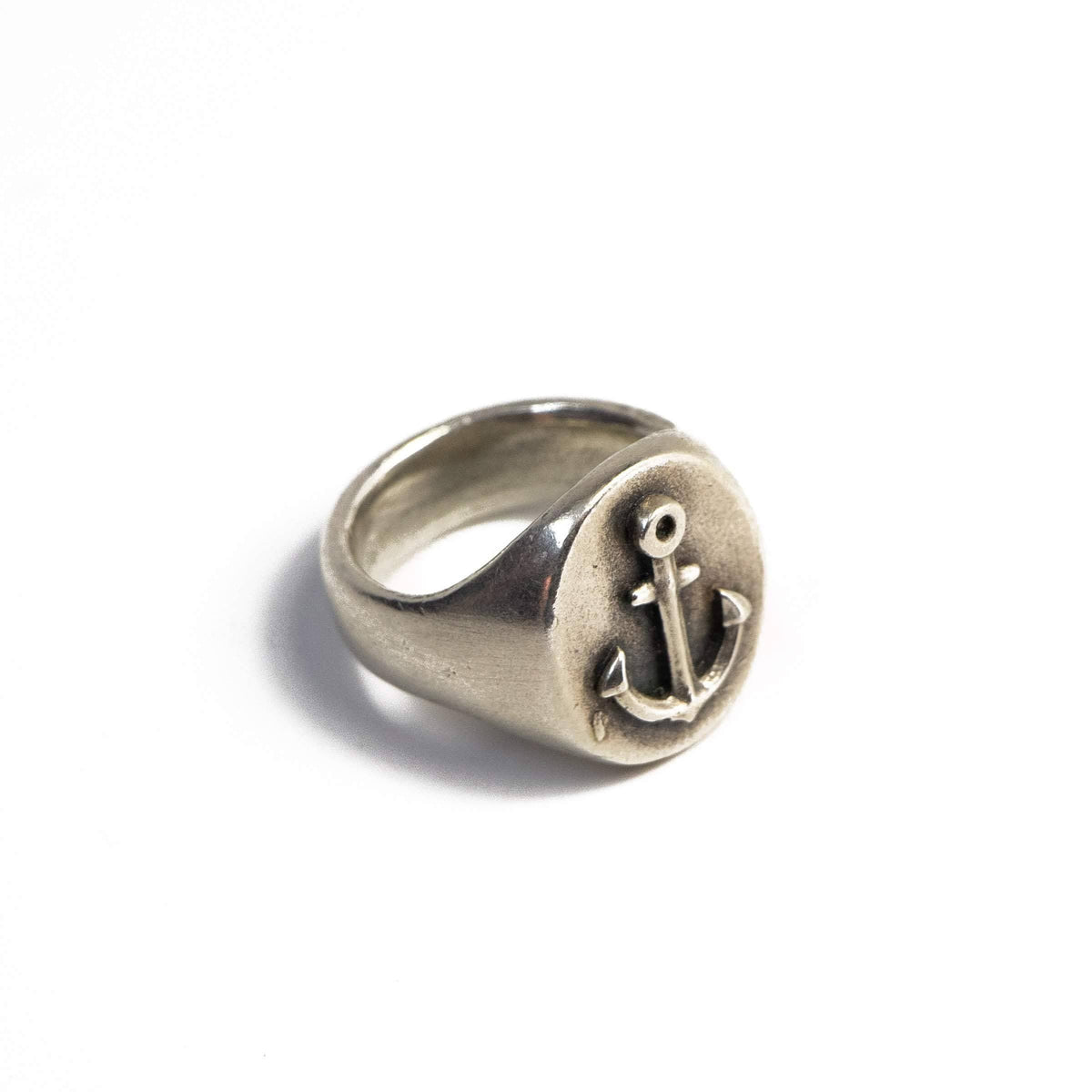 Anchor Signet Ring In Sterling Silver