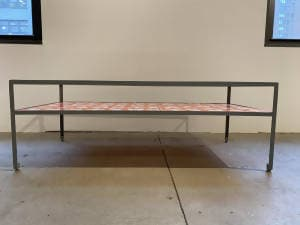 re: 24 angle steel coffee table with Dylan Egon screen printed slats