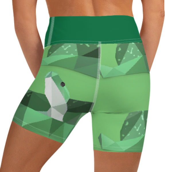 GREEN SNAKE WORKOUT SHORTS - Animal Spandex