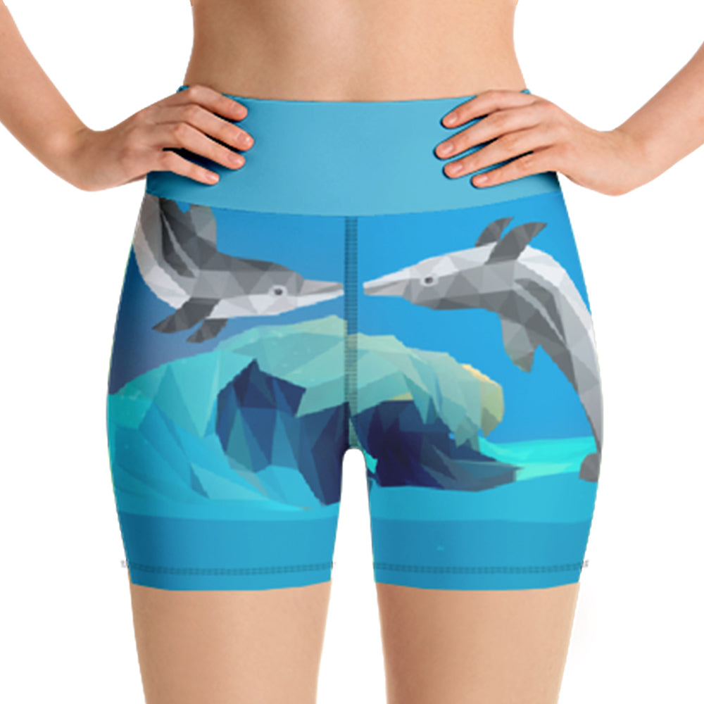 DOLPHIN WAVE WORKOUT SHORTS - Animal Spandex