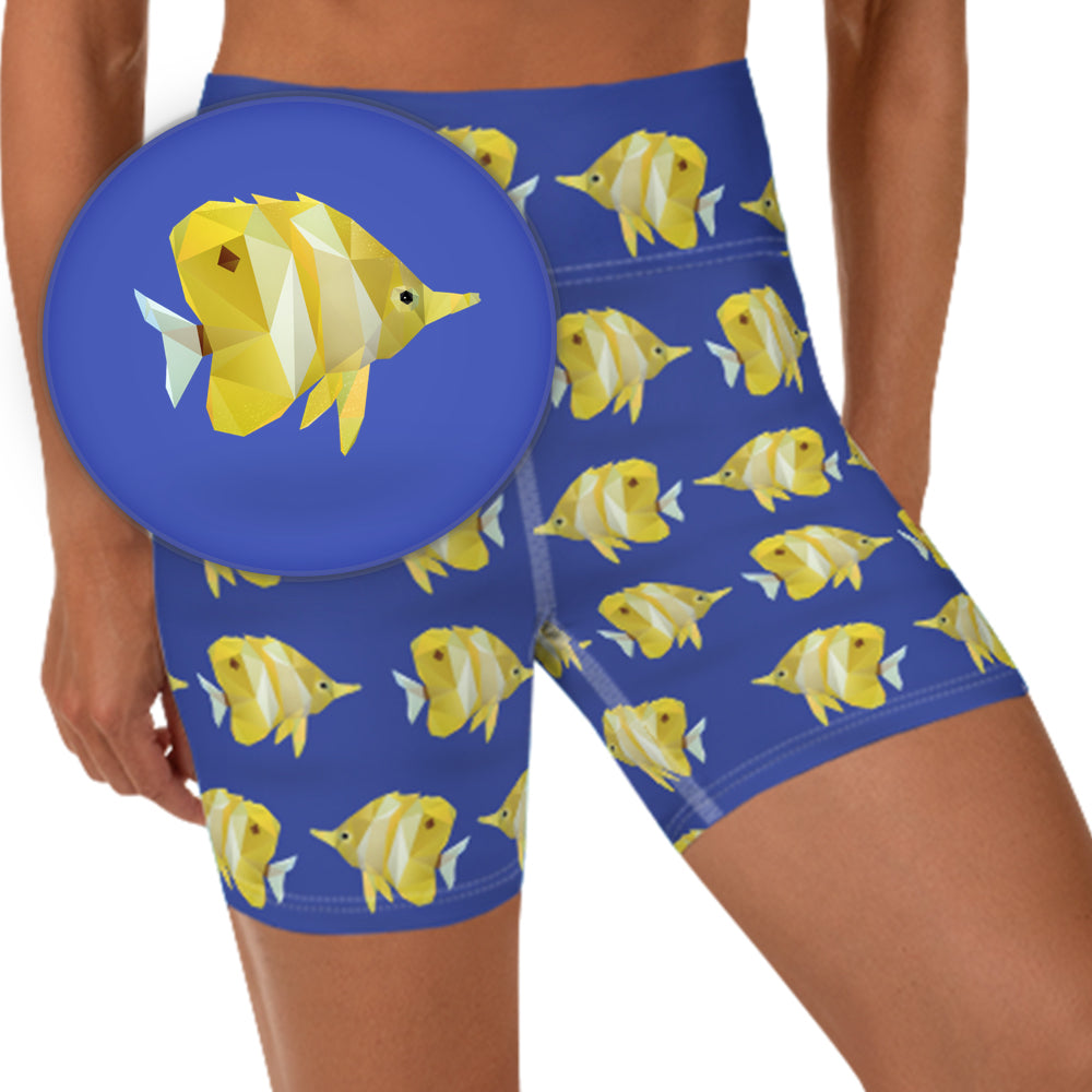 TROPICAL FISH WORKOUT SHORTS - Animal Spandex