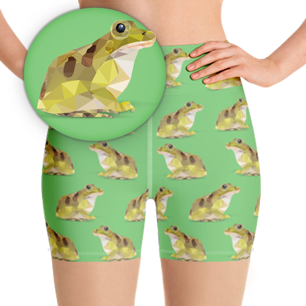 LEOPARD FROG WORKOUT SHORTS - Animal Spandex