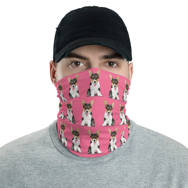 Corgi Face Mask Neck Shield Gaitor Bandana ∙ For Adult Men & Women ∙ Pink Animal Dog - Animal Spandex