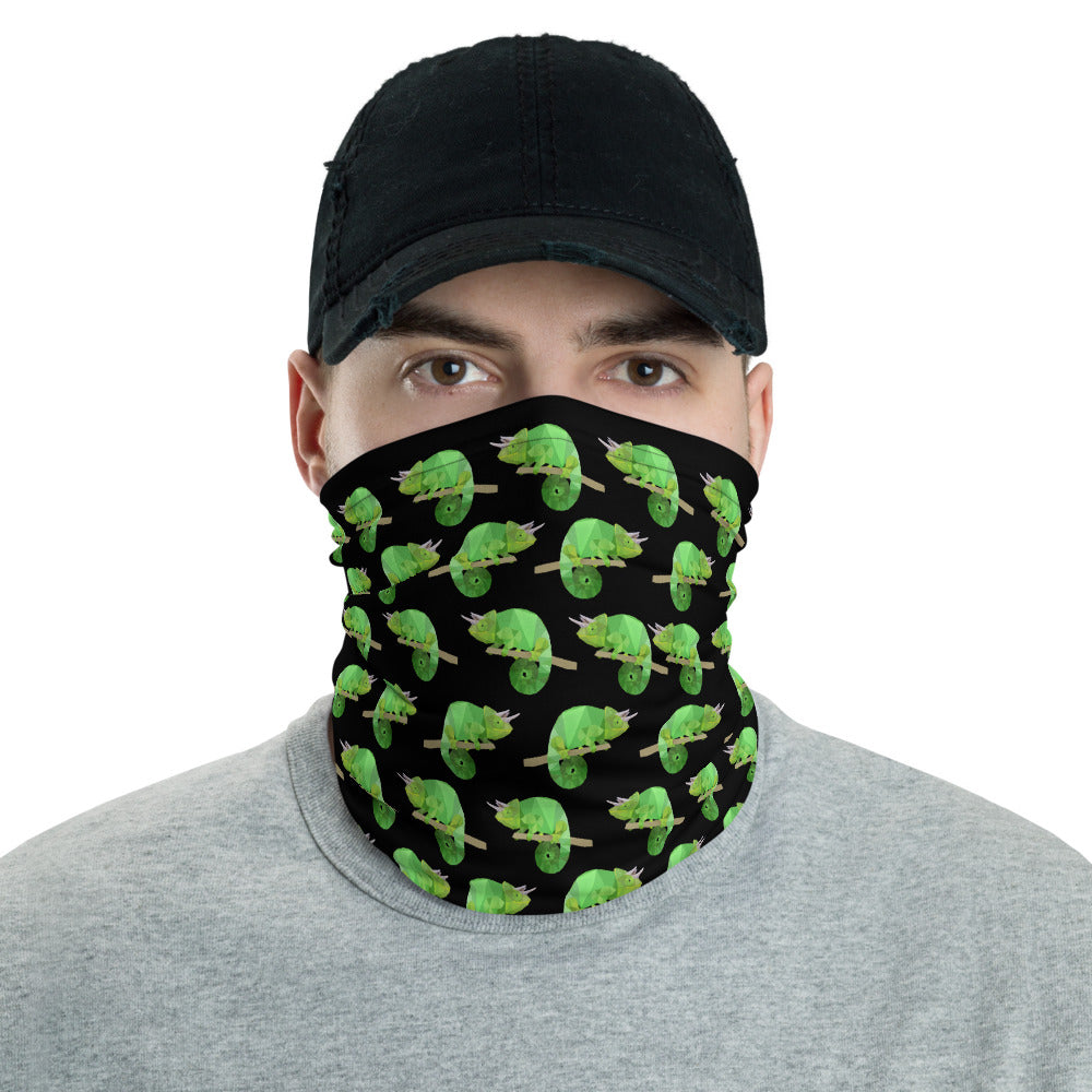 Chameleon Face Mask Neck Shield Gaitor Bandana ∙ For Adult Men & Women ∙ Black Animal - Animal Spandex