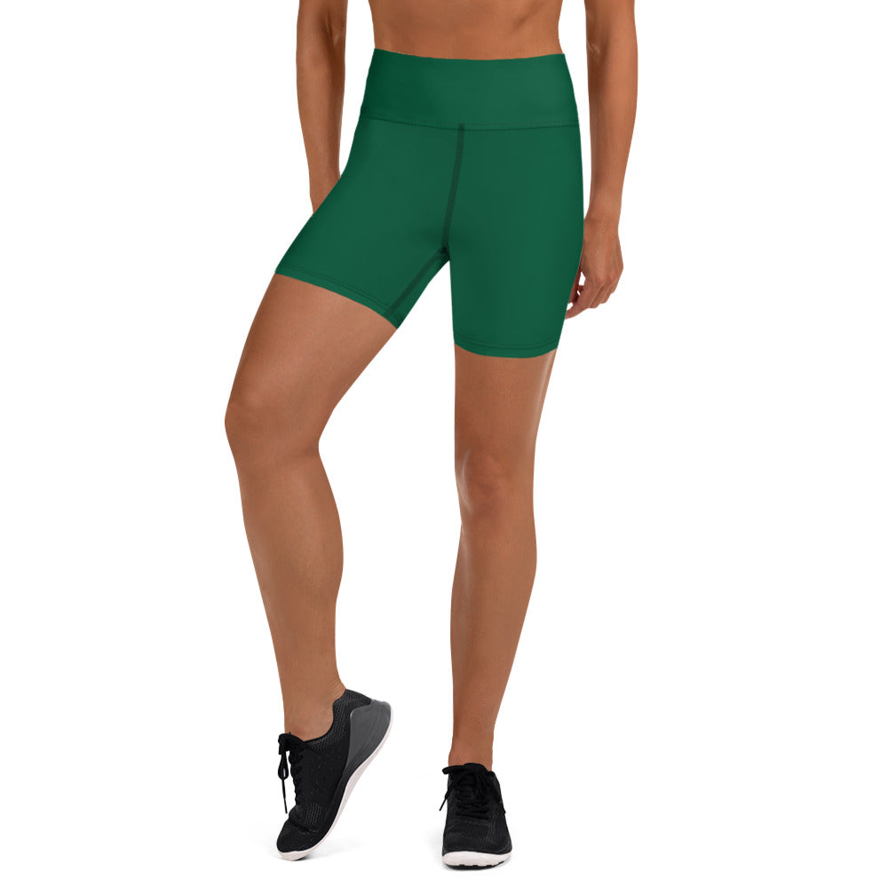 Forest Green Yoga Shorts - Animal Spandex