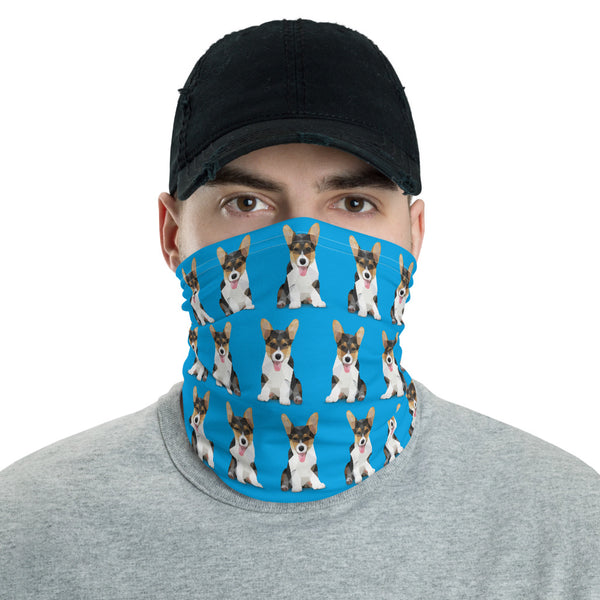 Corgi Face Mask Neck Shield Gaitor Bandana ∙ For Adult Men & Women ∙ Blue Dog Animal - Animal Spandex