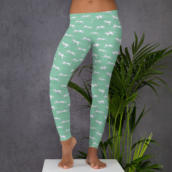 Light Green Run Cat Run Pattern Leggings - Animal Spandex