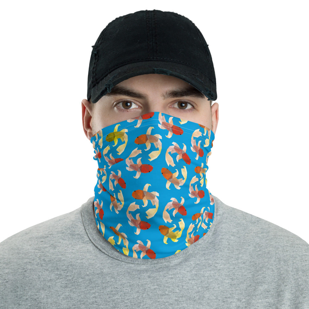 Koi Mask Neck Shield Gaitor Bandana ∙ For Adult Men & Women ∙ Black Blue Purple Green ∙ Low Poly  Pattern - Animal Spandex