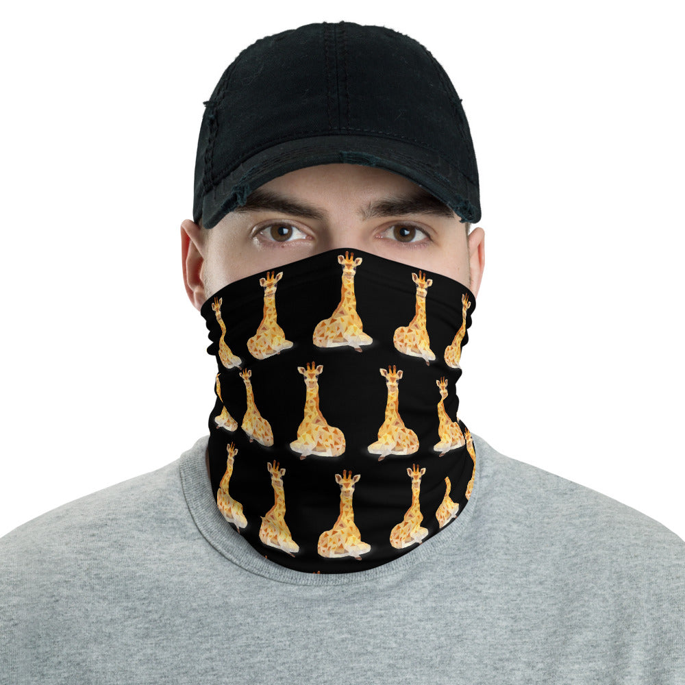 Black Giraffe Face Mask Neck Shield Gaitor Bandana ∙ For Adult Men & Women ∙ Animal - Animal Spandex