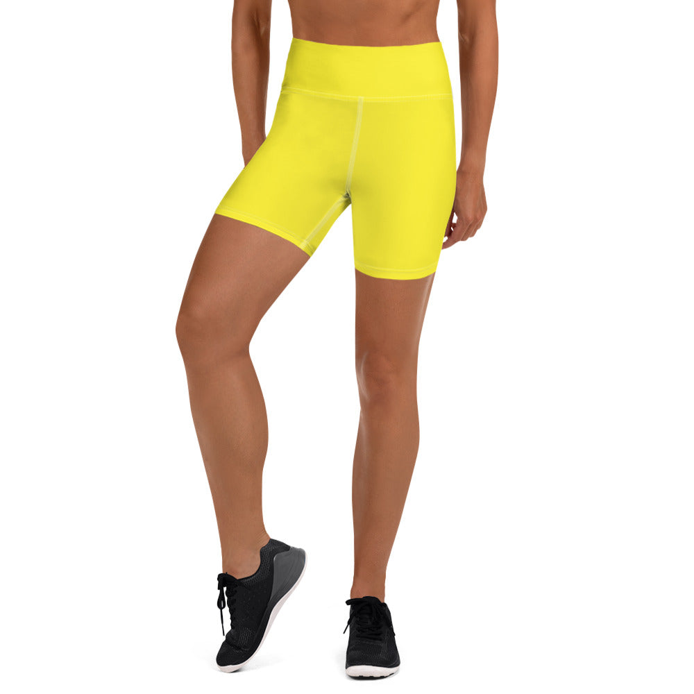 Yellow Yoga Shorts - Animal Spandex
