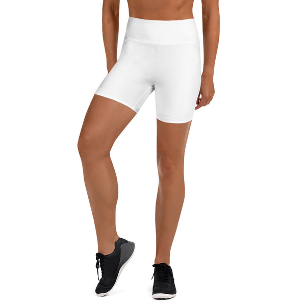 White Yoga Shorts - Animal Spandex
