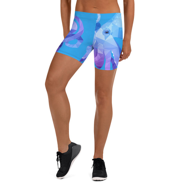CARIBBEAN REEF OCTOPUS LOW WAISTBAND WORKOUT SHORTS - Animal Spandex