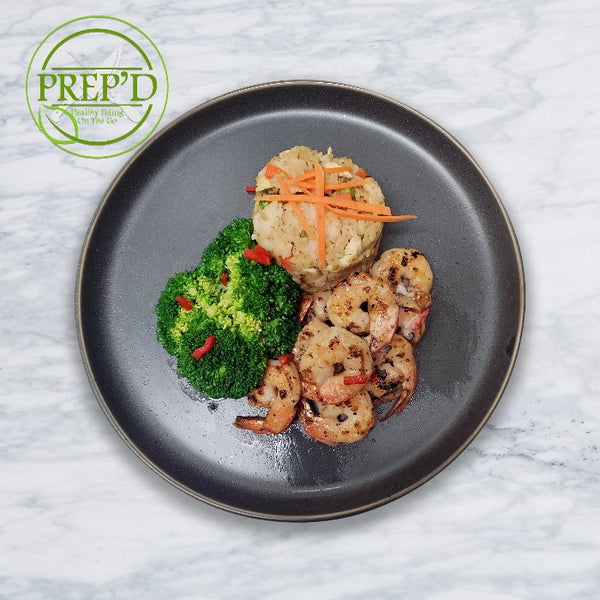 Sautéed Shrimp with Fried Rice and Broccoli - Prep'd Tulsa