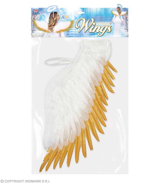 Ailes d'ange plumes blanc et or